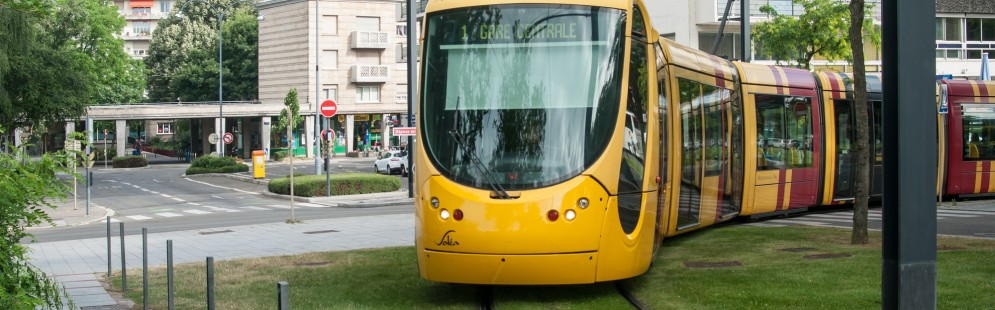 MULHOUSE - France - 17 June 2017 - Tramway near train station in Mulhouse